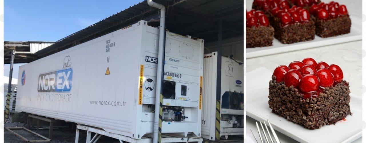 Cafeterya Zincirlerine Donuk Pasta ve Kek İmalatı Yapan Müşterimiz Norex Mobil Soğuk Hava Konteynerimizi kiraladı